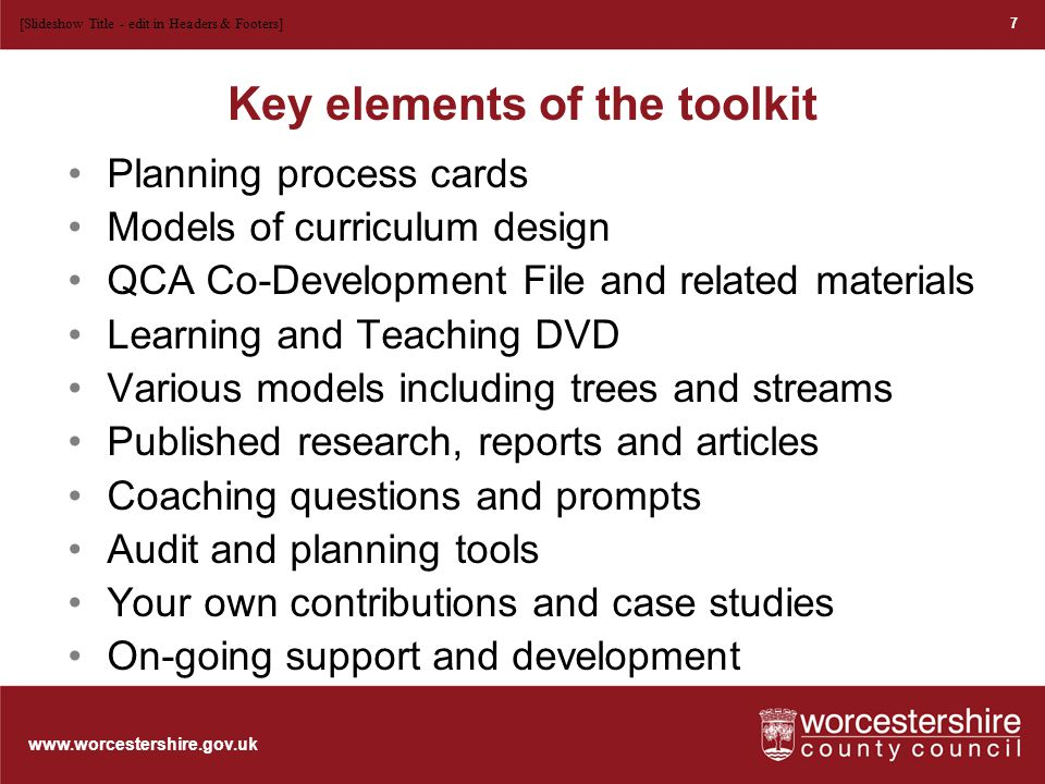 www.worcestershire.gov.uk Exploring the design process Whole school and classroom level.