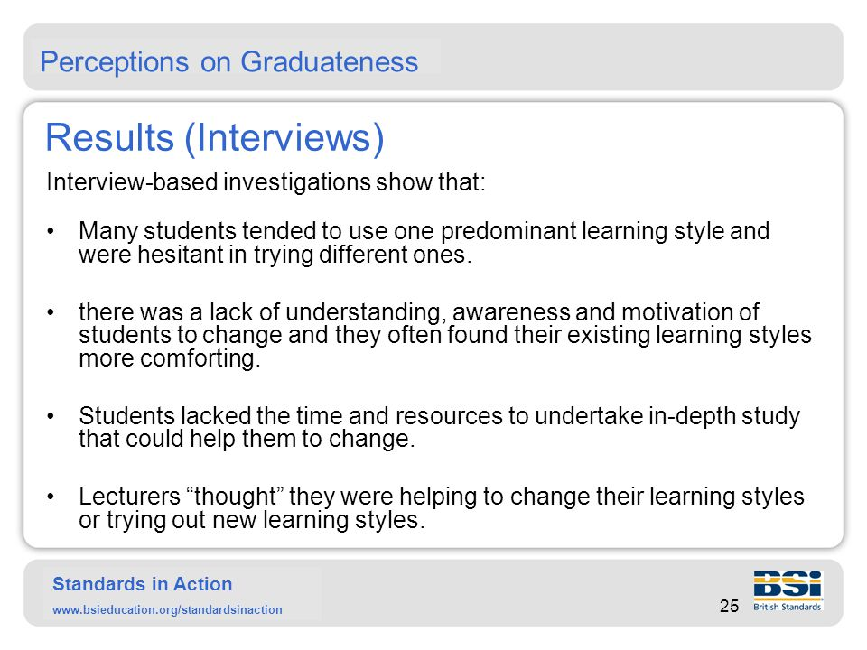Standards in Action www.bsieducation.org/standardsinaction … Results (Interviews) Students generally did not fully appreciate the number and quality of skills and attributes that they were supposed to develop during their study.