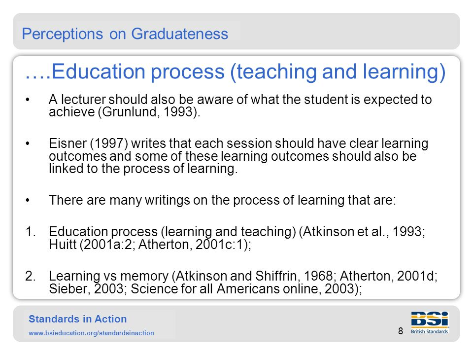 Standards in Action www.bsieducation.org/standardsinaction ….Education process (teaching and learning) 3.Learning styles (Honey and Mumford, 1982; Kolb, 1984; Reynolds, 1965; Hudson, 1967); 4.Principles of learning - learning can be focused upon by considering three different psychological approaches: cognition (Vygotsky, 1962); behaviourism (Skinner, 1953); and humanism (Maslow, 1954 and Sutich, 1961; Gogineni, 2000); 5.