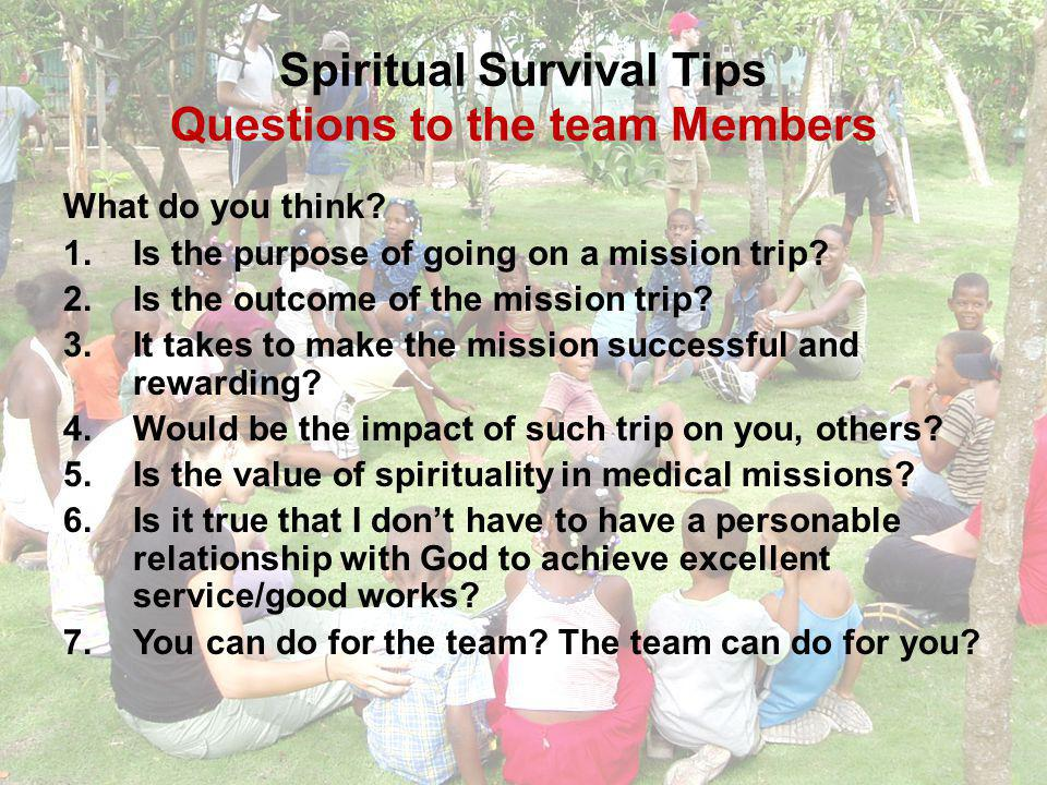 Spiritual Survival Tips Who will benefit.