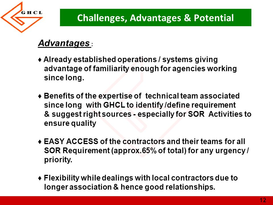 13 Challenges, Advantages & Potential Potential : ♦ Potential for Better Quality & output from agencies by stringent process of certifications & feedback for Quality, Responsiveness etc.