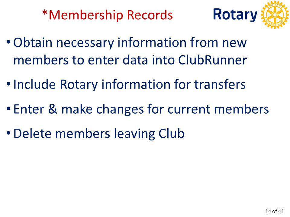 Semi-Annual Report RI sends this report out June 30 th & December 31 st Compare membership list with actual club membership and report differences on a worksheet.