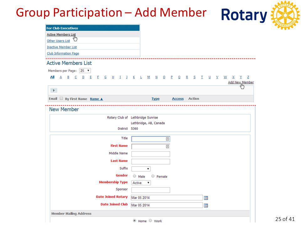 Group Participation – Edit Member 26 of 41