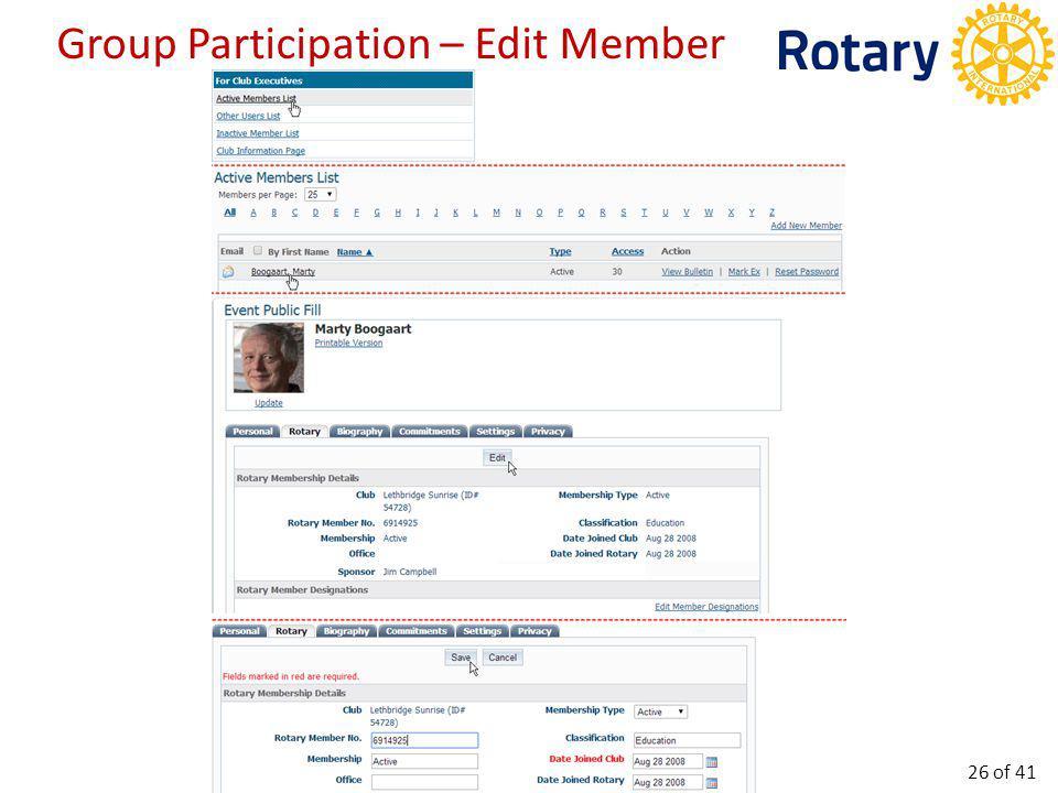 Group Participation – Delete Member 27 of 41