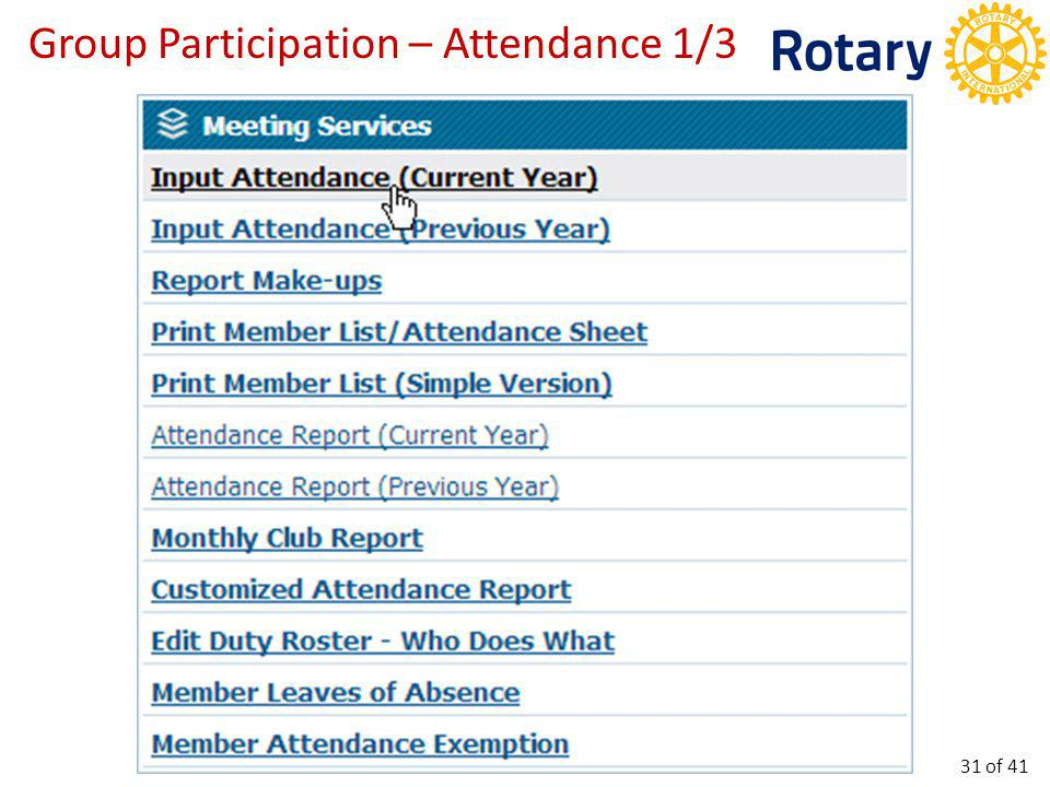 Group Participation – Attendance 2/3 32 of 41