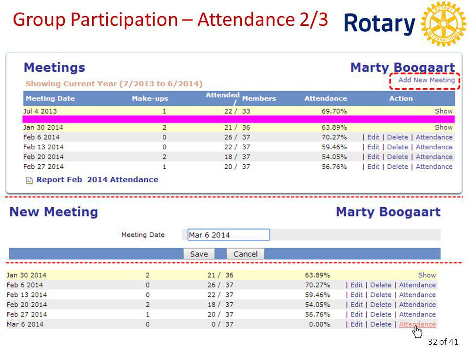 Group Participation – Attendance 3/3 33 of 41