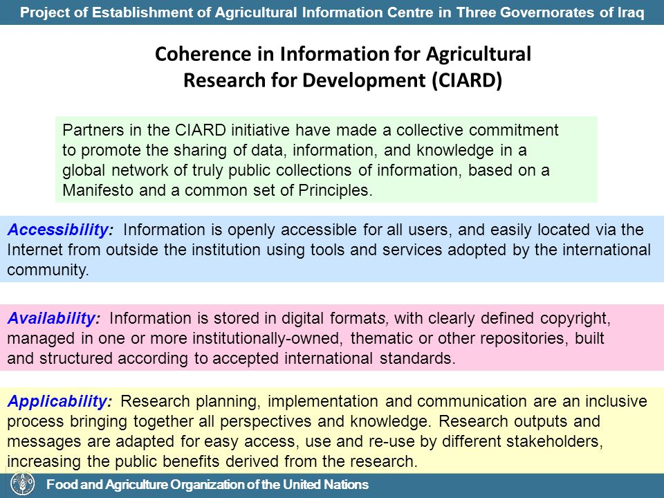 Project of Establishment of Agricultural Information Centre in Three Governorates of Iraq Food and Agriculture Organization of the United Nations Portal Network Model