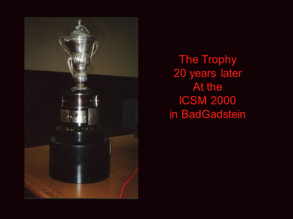 The Trophy, at ICSM 2002 in Shangai being passed to the Australian organizers being