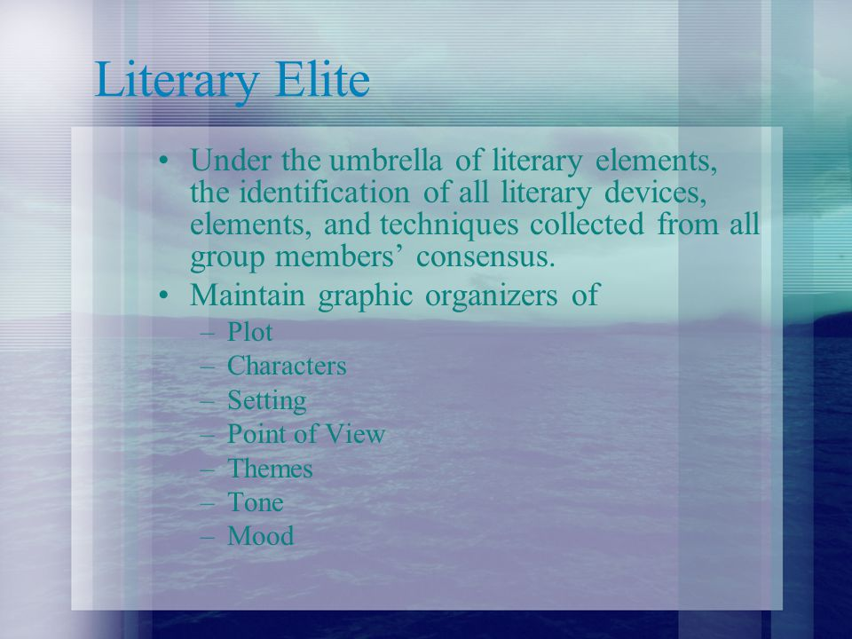 Identify Literary Elements For Regents Prep or skillfully writing about literature, literary elements are a must.