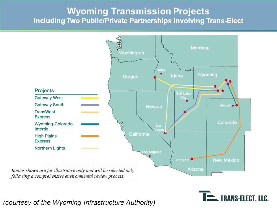 WIND New Lines Under Development Existing Lines Wyoming-Colorado Intertie (WCI) Project 180 miles 345 kV 850 MW 75 miles 230 kV 425 MW Recommended by RMATS –TOT3 Constraint –6 Lines w/ 1,600 MW Capacity Public/Private Partnership –Wyoming Infrastructure Authority, Trans-Elect & WAPA Feasibility Studies Complete –Phase 1 WECC path rating Open Season Process –July 31 Auction Date ~2013 on-line date