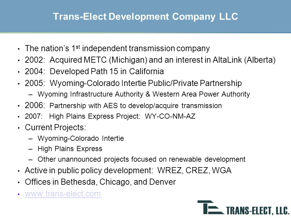 Path 15 Project Summary Public-private partnership with Western (DOE), PG&E, and Trans- Elect 83-mile, 500-kV line to eliminate a long-standing transmission constraint between N-S California Total development cost $250 M for a new 500-kV transmission line and substations FERC approved ROE 13.5% and CAISO is sole customer Construction started in September 2003 with commercial operation December 2004 Trans-Elect's share of project costs of $194 million were under budget 4 Tesla Oregon California Lake Malin Captain Jack COTP AC INTERTIE Tracy DC Vincent Olinda Table Mountain Round Mountain Los Banos Gates Path 15 INTERTIE Midway Tahoe San Francisco