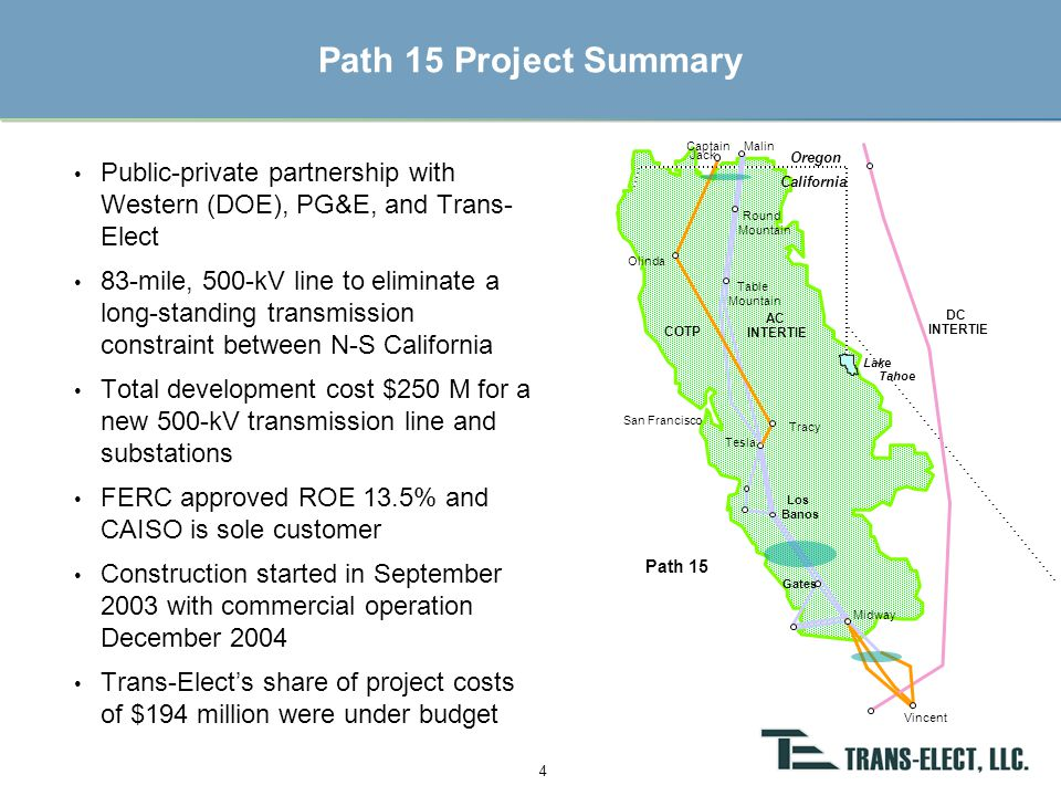 Michigan Electric Transmission Company 5 Purchase price - $288 million May 1, 2002 Assets - 5,400 miles of transmission lines in Michigan Investors - Trans-Elect as general partner with equity investment from GE Capital.