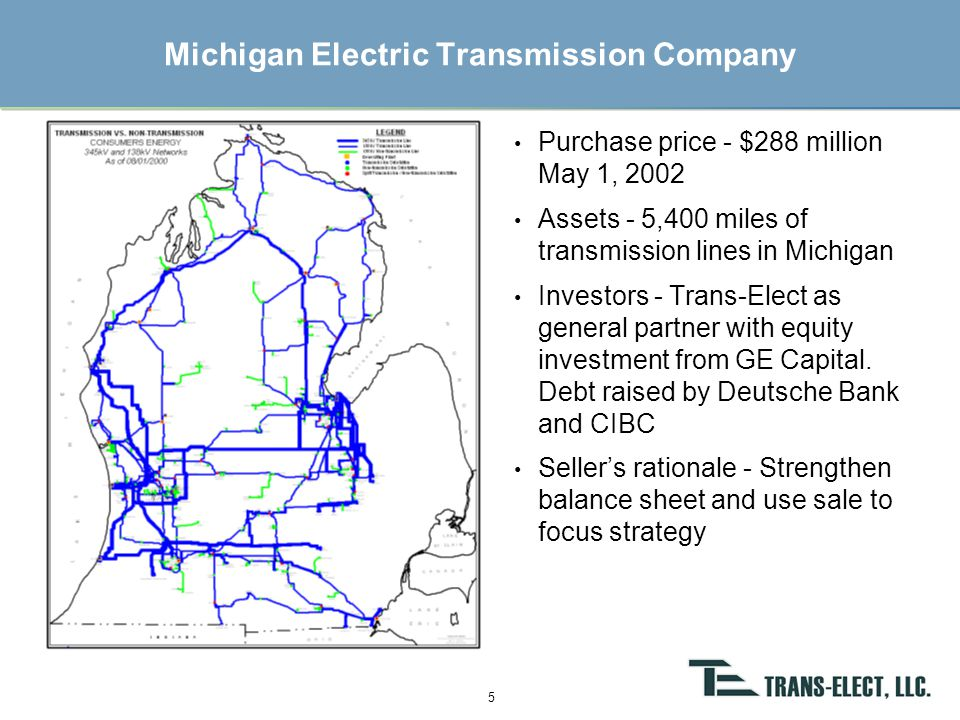 AltaLink Summary Purchase price - $570 million (C$860 million) on April 29, 2002 Assets - 7,200 miles of transmission lines in Alberta, Canada Investors – Trans-Elect and SNC-Lavalin as 50/50 general partners with equity investments from Ontario Teacher's Pension Plan Board and Macquarie Bank Seller's rationale - Become a pure generating company (previously divested distribution assets) 6