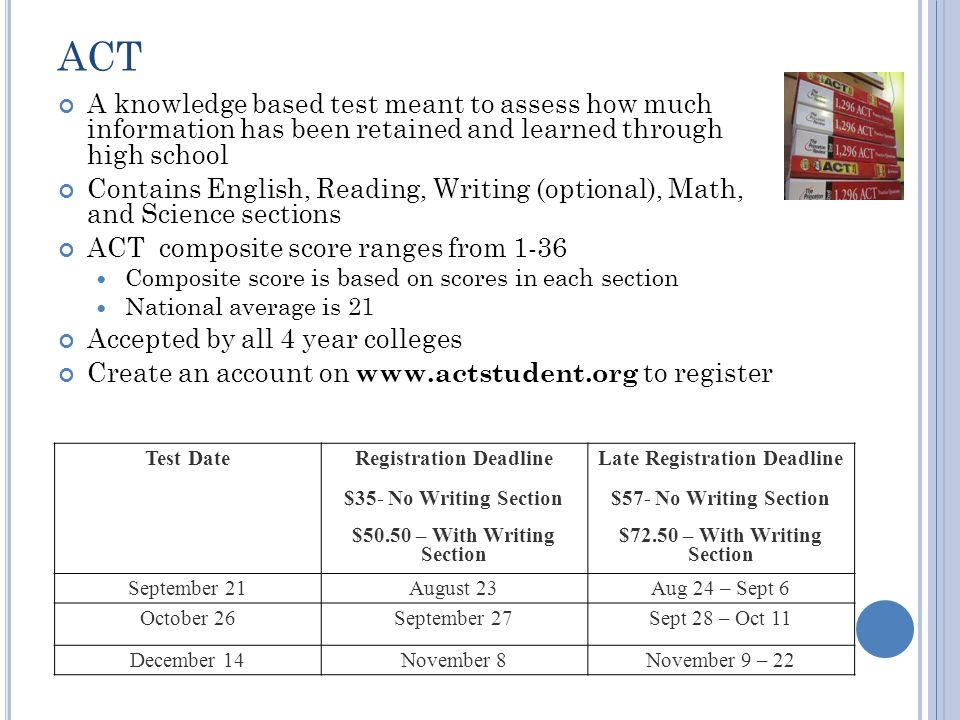 T EST P REP Free Resources Trenton Catholic Academy's SAT course Websites www.collegeboard.org www.actstudent.org www.number2.com www.ineedapencil.com Guidance website Priced Resources Test Prep Books ~$20 Courses (e.g.