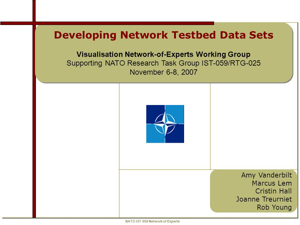 NATO IST-059 Network of Experts Developing Network Testbed Data Sets BACKGROUND Q6 – how can clean data sets be produced for various types of networks to provide testbeds with realistic traffic and other elements.