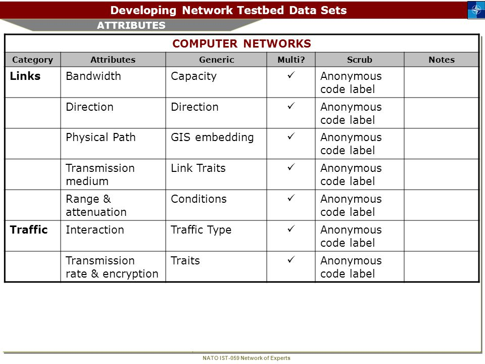NATO IST-059 Network of Experts Developing Network Testbed Data Sets NEXT STEPS  Complete and finalize attribute lists  Write a paper  Seek out who might have data  Look for funding.