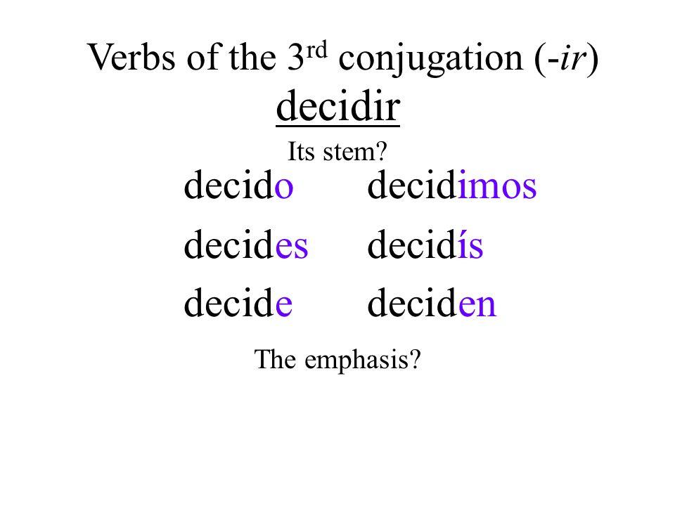 escribir iiescrboi i besi iescrbei escribmosi íescribsí iescrbeni Verbs of the 3 rd conjugation (-ir) Its stem.