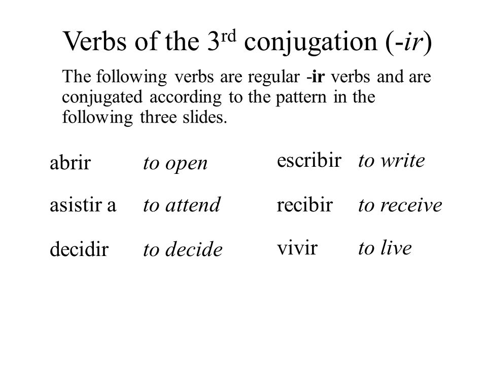 abrir iabroa a esa abrea abrmosi íabrsí abrena Verbs of the 3 rd conjugation (-ir) Its stem.