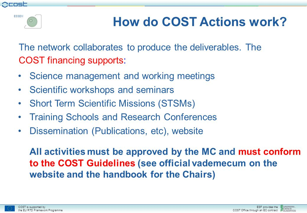 COST is supported by the EU RTD Framework Programme ESF provides the COST Office through an EC contract ESSEM How are COST Actions structured.