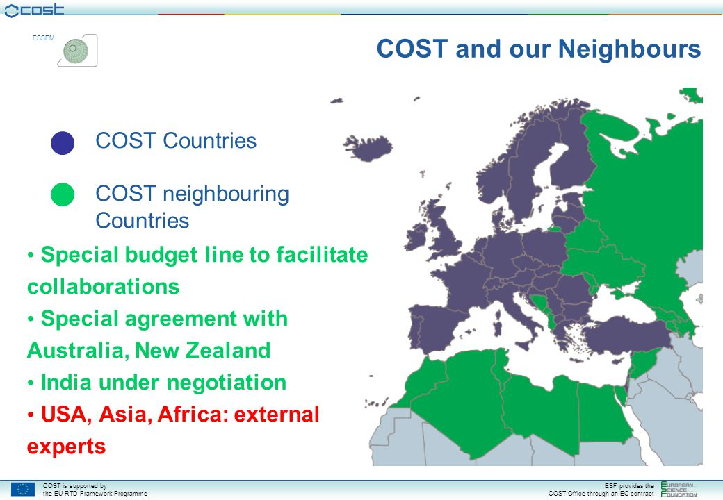 COST is supported by the EU RTD Framework Programme ESF provides the COST Office through an EC contract ESSEM COST Actions: global participation (March 2008) 165 non-COST country participations in 58 Actions Australia - 23 Argentina - 1 China - 6 Japan - 11 Canada - 18 New Zealand - 4 South Africa - 1 Tunisia - 2 Bosnia & Herzegovina - 2 Ukraine - 15 Russia - 40 USA - 22 Rep of Korea - 2 Hong Kong - 1 Brazil - 1 Algeria - 2 India - 1 Egypt - 1 Cuba - 1 Malaysia - 1 Moldova - 2 Vietnam - 1 Colombia - 1 Armenia - 1 Georgia - 2