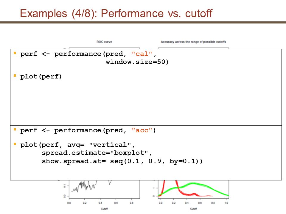 Examples (5/8): Cutoff labeling  pred <- prediction(scores, labels)  perf <- performance(pred, pcmiss , lift )  plot(perf, colorize=T, print.cutoffs.at=seq(0,1,by=0.1), text.adj=c(1.2,1.2), avg= threshold , lwd=3)