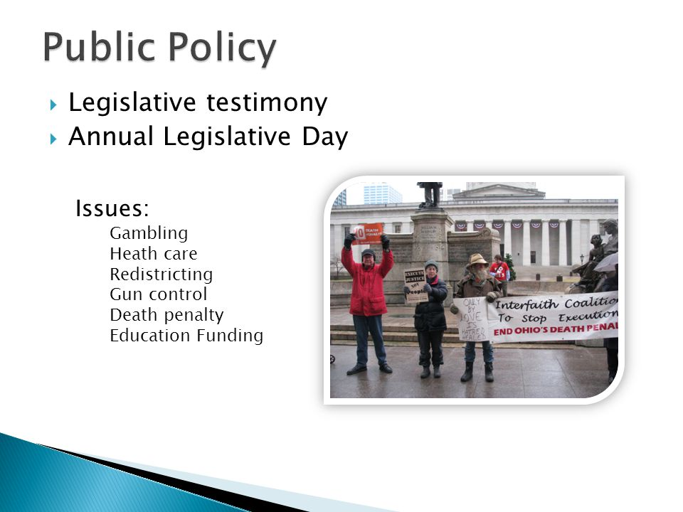  State Budget  Ohio School Funding  Health Care  Gambling  Death Penalty  Immigration