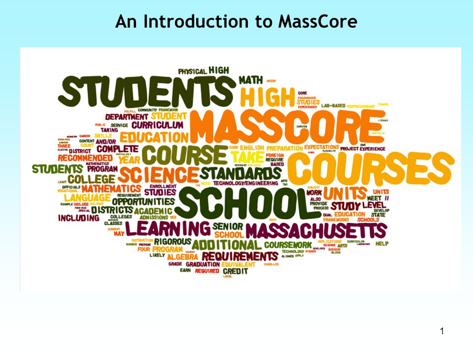So what is MassCore.MassCore is currently the state RECOMMENDED program of study.