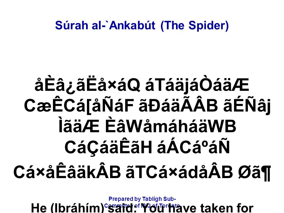 Prepared by Tablígh Sub- Committee of ISIJ of Toronto Súrah al-`Ankabút (The Spider) âÌá¯åÃáÖáÑ è¤å¯áRãQ Èâ¿â£å¯áQ âoâ·å¿áÖ ãUáÆCá×ã»åÂB áÅåÒáÖ áäÈâ[ Cæ£å¯áQ Èâ¿â£å¯áQ Then on the Day of Judgement, some of you will deny the others, and some of you will curse the others.