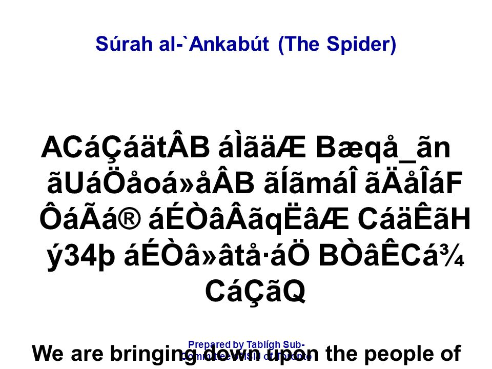 Prepared by Tablígh Sub- Committee of ISIJ of Toronto Súrah al-`Ankabút (The Spider) ý35þ áÉÒâÃã»å¯áÖ èÅåÒá»ãä æUáËãä×áQ æUáÖD CáÏåËãÆ CáËå¾áoáäW ká»áÂáÑ And certainly We have left a clear sign of it for a people who understand.