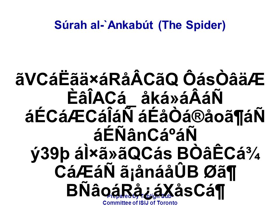 Prepared by Tablígh Sub- Committee of ISIJ of Toronto Súrah al-`Ankabút (The Spider) CæRã{Các ãÐå×áÃá® CáËåÃásånáF åÌáäÆ ÈâÏåËãÇᶠãÐãRÊámãQ CáÊåmágáF æäÚâ¿á¶ So each We seized for his sin; among them was he on whom we sent a violent storm,