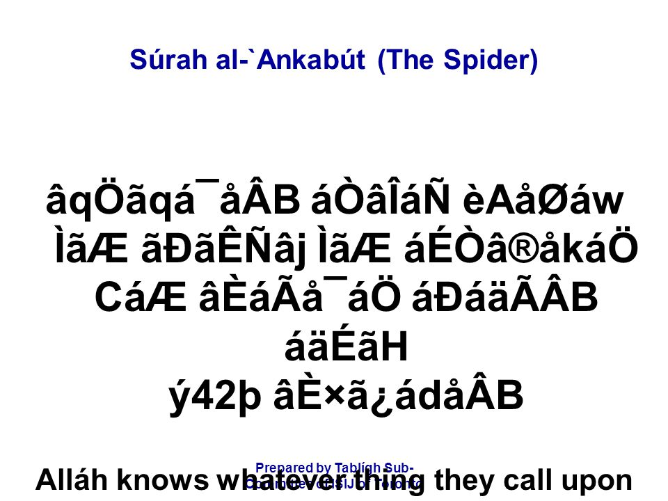 Prepared by Tablígh Sub- Committee of ISIJ of Toronto Súrah al-`Ankabút (The Spider) áäÙãH CáÏâÃã»å¯áÖ CáÆáÑ ãrCáäËÃã CáÏâQãoå£áÊ âÁCá\åÆáåÛB áÀåÃãWáÑ ý43þ áÉÒâÇãÂCá¯åÂB These are the examples We have set forth for mankind, but none understand them except those who know.