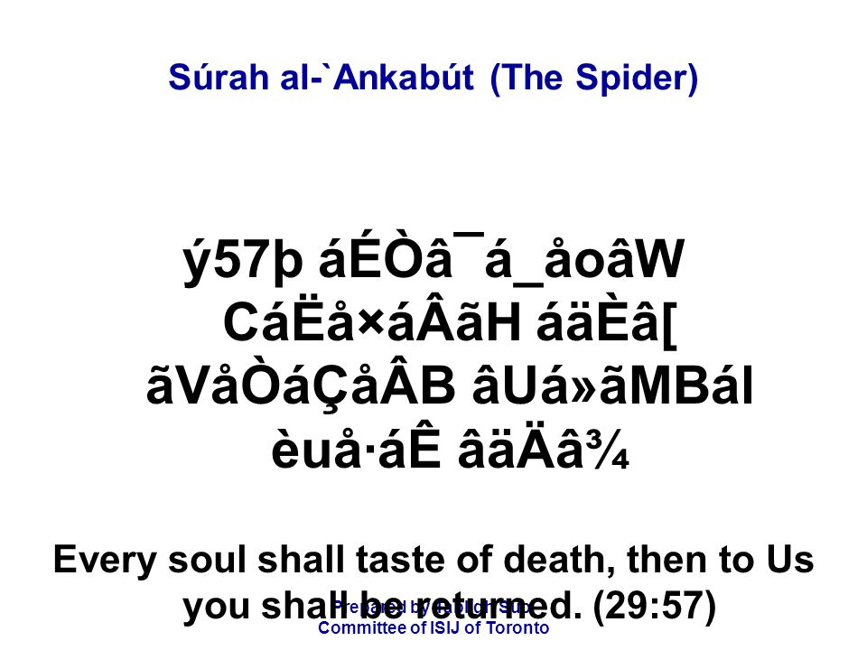 Prepared by Tablígh Sub- Committee of ISIJ of Toronto Súrah al-`Ankabút (The Spider) ãVCádãÂCáä|ÂB BÒâÃãÇá®áÑ BÒâËáÆD áÌÖãmáäÂBáÑ Those who believe and do good deeds,