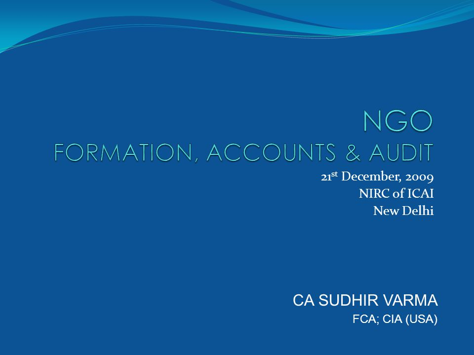 Formation of NGO's