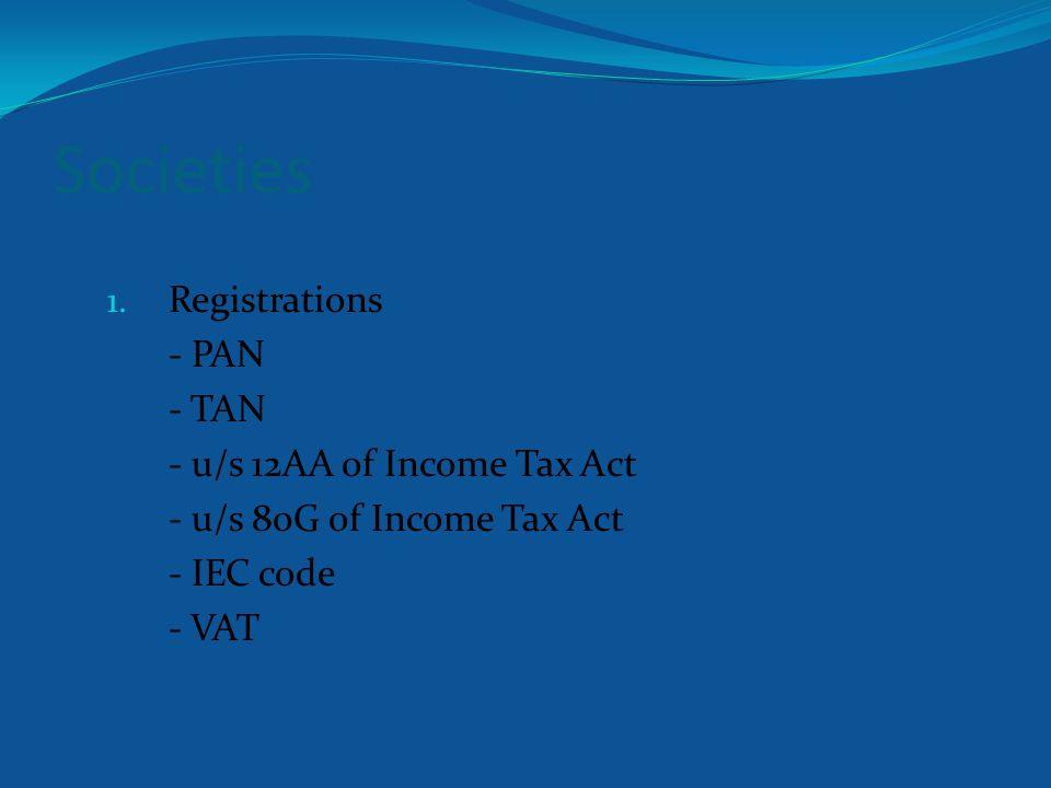 Societies 1. Establish bank account 2. Deposit membership fee 3. Start members register