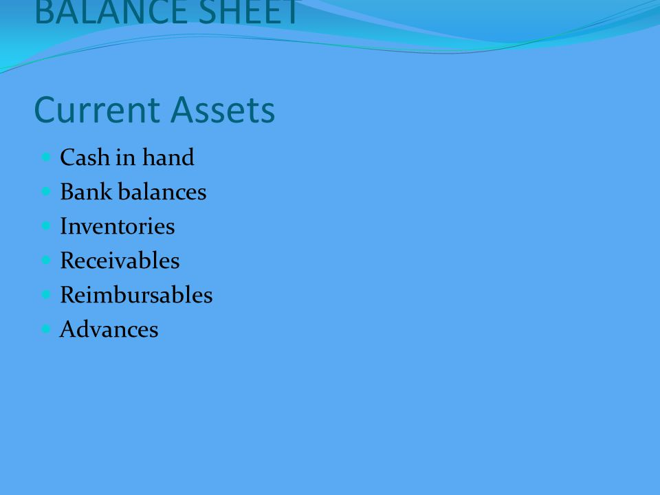 BALANCE SHEET Current Liabilities Payables Statutory dues - Provident Fund - TDS - Others