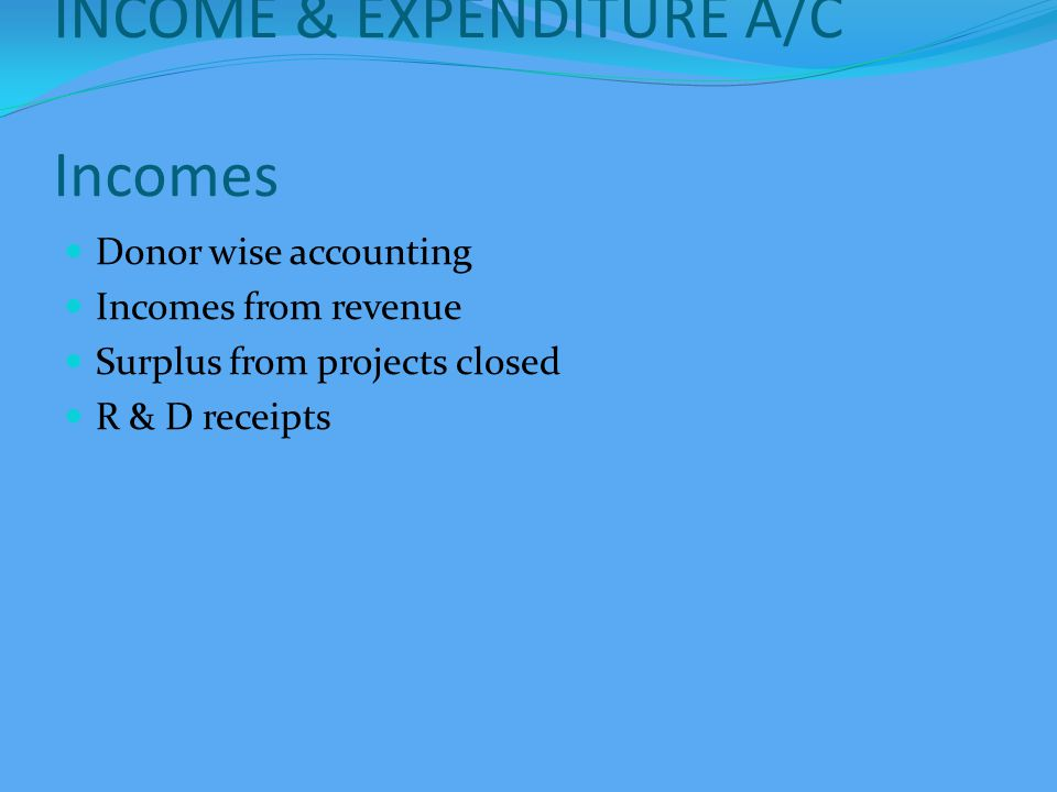 INCOME & EXPENDITURE A/C Expenditure Project by exp.