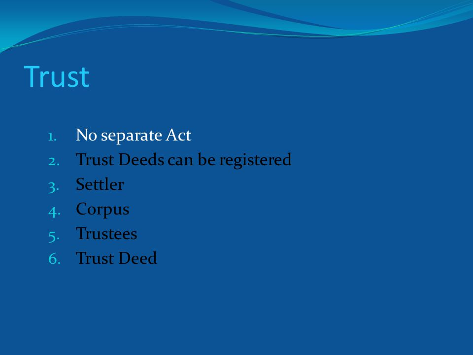 Trust Deed 1.On a stamp paper as per stamp duty payable on the corpus amount.