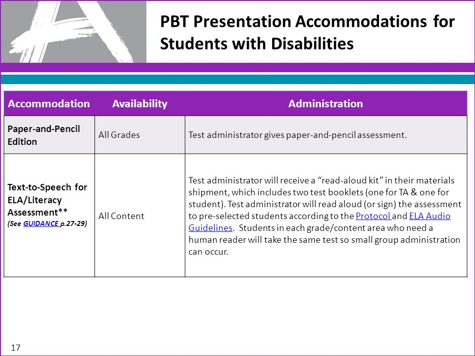 PBT Response Accommodations for Students with Disabilities 18 AccommodationAvailabilityAdministration Calculation Device and Mathematics Tools ** (See GUIDANCE p.30)GUIDANCE All Grades Students may bring external calculation devices (e.g., abacus, talking calculator, large button calculator).