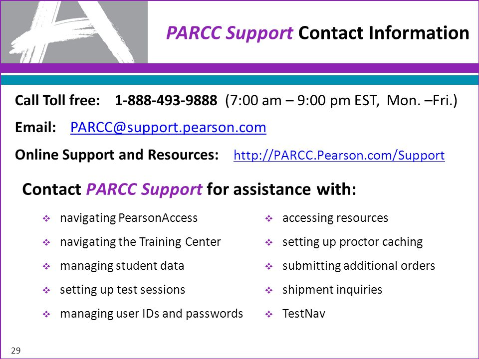 Thank you for your help in coordinating the PARCC Field Test! 30