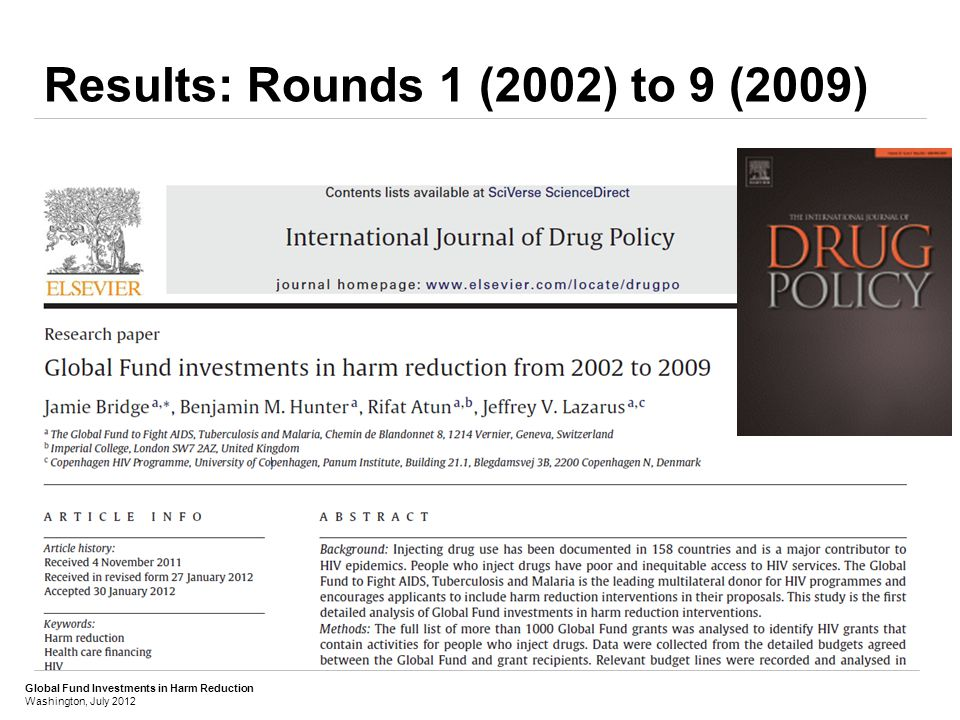 Global Fund Investments in Harm Reduction Washington, July 2012 Results: Rounds 1 (2002) to 9 (2009) TOTAL BUDGETED:BUDGETED & PROJECTED TOTAL: US$ 361 millionUS$ 430 million (Average US$ 48 million each Round)