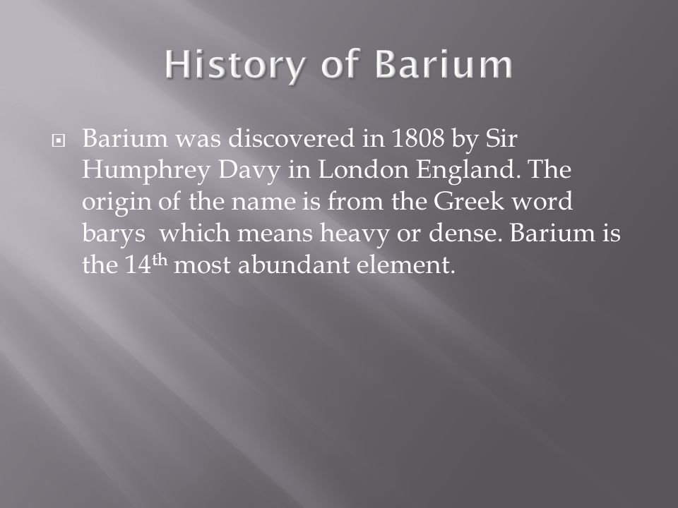 Barium uses  Barium is often used in electrodes in sparkplugs.