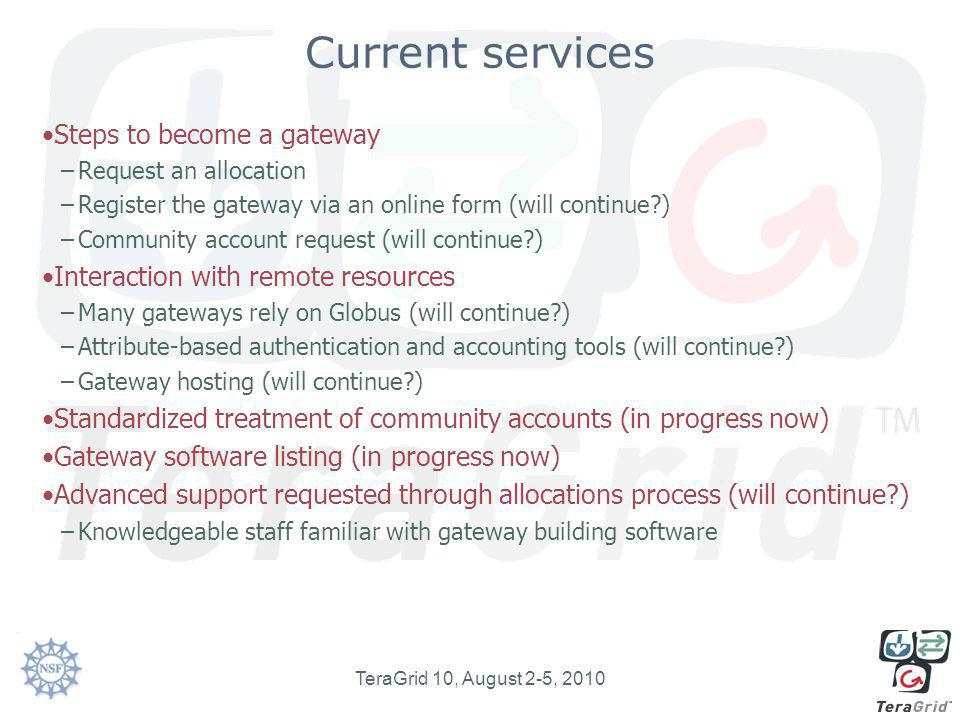 Descriptions of current gateways Their structure, what services they need http://www.teragridforum.org/me diawiki/index.php?title=Science_G ateway_Use_Caseshttp://www.teragridforum.org/me diawiki/index.php?title=Science_G ateway_Use_Cases –Thanks Stu Martin Will ensure this list is complete for all current gateways this year TeraGrid 10, August 2-5, 2010