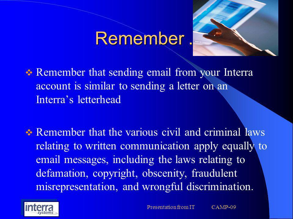 Presentation from IT CAMP-09 MASS Emails !.