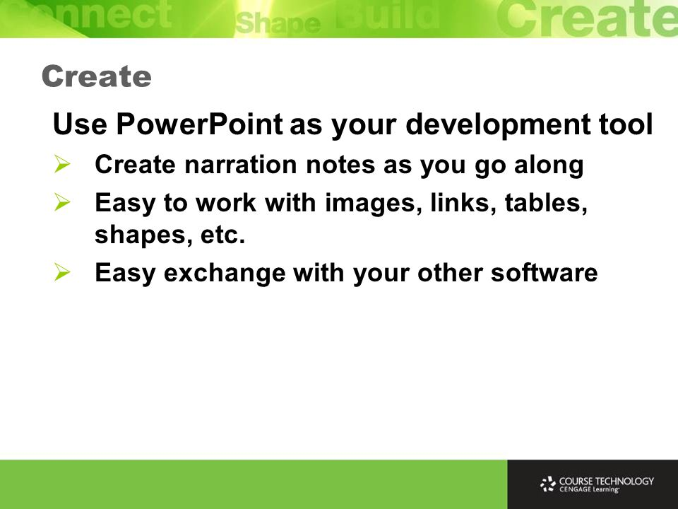 Create Do the images and video first and import them into your capture program - then record the narration.