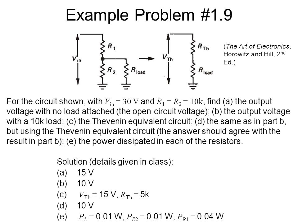 Example Problem #1.9 Solution (details given in class): (a)15 V (b)10 V (c) V Th = 15 V, R Th = 5k (d)10 V (e) P L = 0.01 W, P R2 = 0.01 W, P R1 = 0.04 W (The Art of Electronics, Horowitz and Hill, 2 nd Ed.) For the circuit shown, with V in = 30 V and R 1 = R 2 = 10k, find (a) the output voltage with no load attached (the open-circuit voltage); (b) the output voltage with a 10k load; (c) the Thevenin equivalent circuit; (d) the same as in part b, but using the Thevenin equivalent circuit (the answer should agree with the result in part b); (e) the power dissipated in each of the resistors.