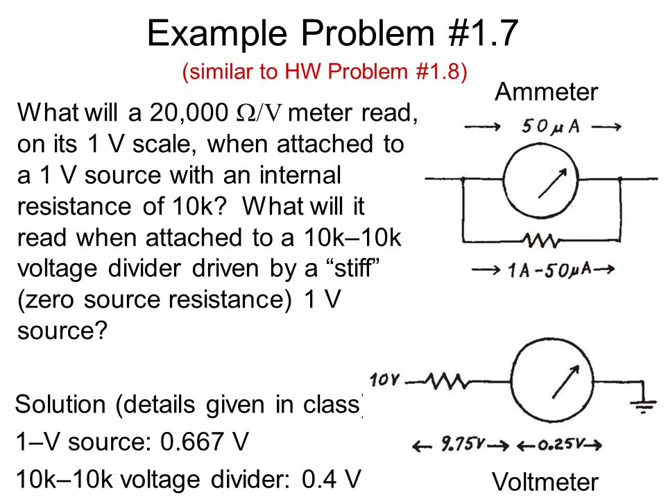 Example Problem #1.7 Solution (details given in class): 1–V source: 0.667 V 10k–10k voltage divider: 0.4 V Ammeter Voltmeter (similar to HW Problem #1.8) What will a 20,000  V meter read, on its 1 V scale, when attached to a 1 V source with an internal resistance of 10k.