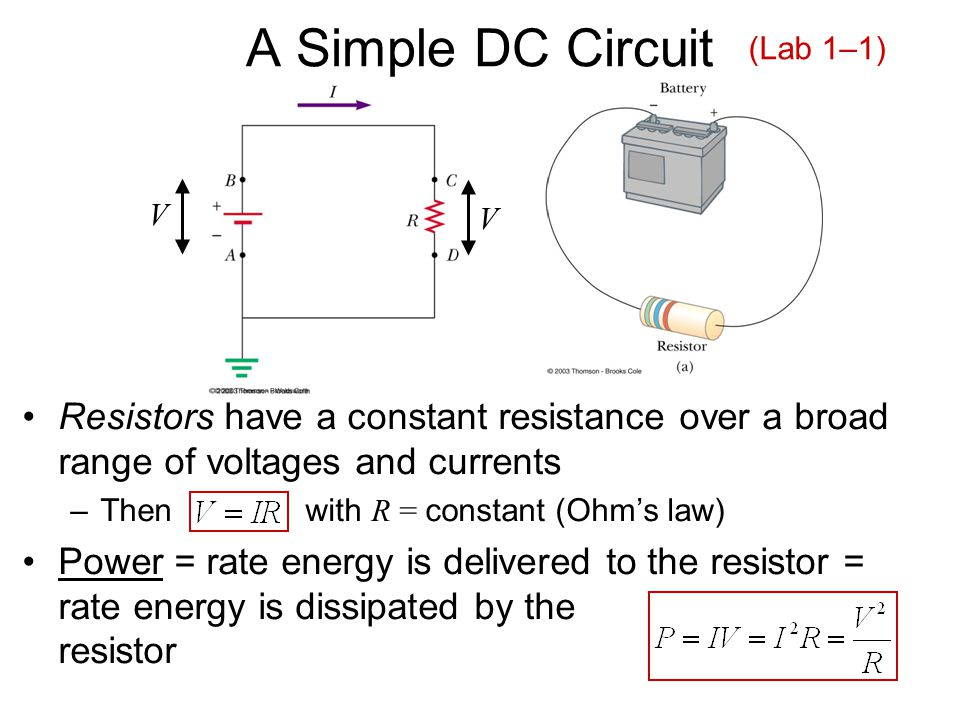A Simple DC Circuit Resistors have a constant resistance over a broad range of voltages and currents –Then with R = constant (Ohm's law) Power = rate energy is delivered to the resistor = rate energy is dissipated by the resistor V V (Lab 1–1)