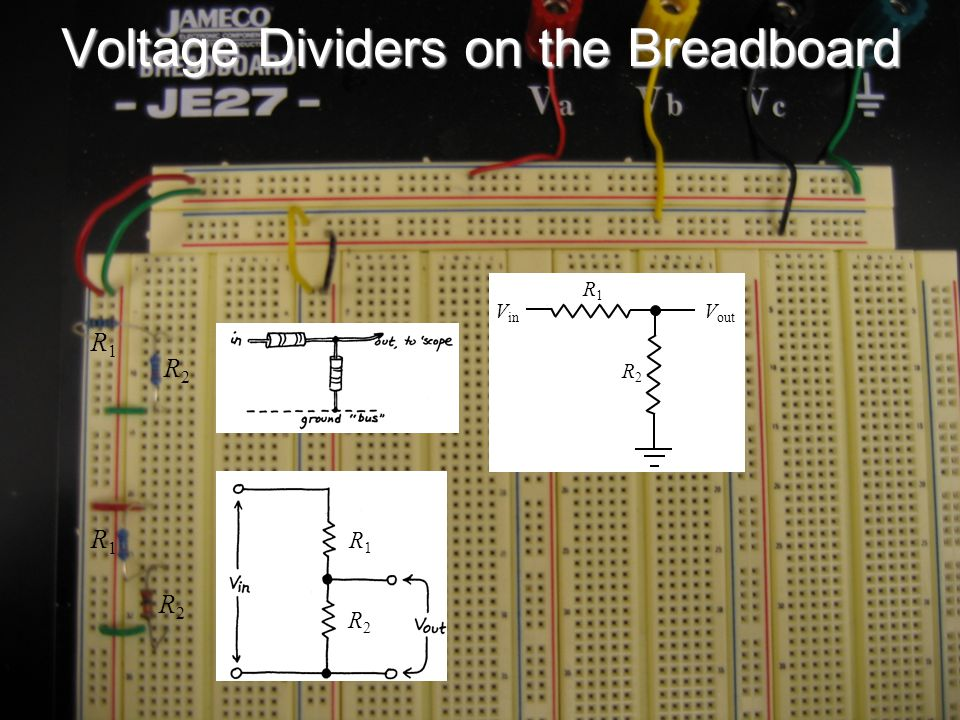 Voltage Dividers on the Breadboard R1R1 R2R2 V out V in R1R1 R2R2 R1R1 R2R2 R1R1 R2R2