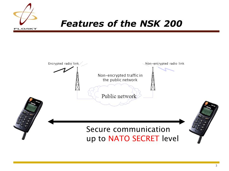4 Features of the NSK 200 Conversations up to NATO SECRET GSM-GSMGSM-DECT DECT-DECT