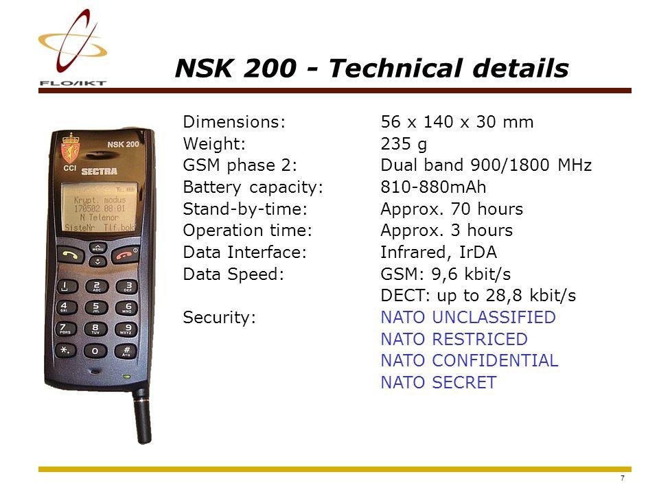 8 NSK 200 Overview Smart Card Interface Battery Charger Hands-free Contact IrDA Interface Menu-wheel Quick-menu